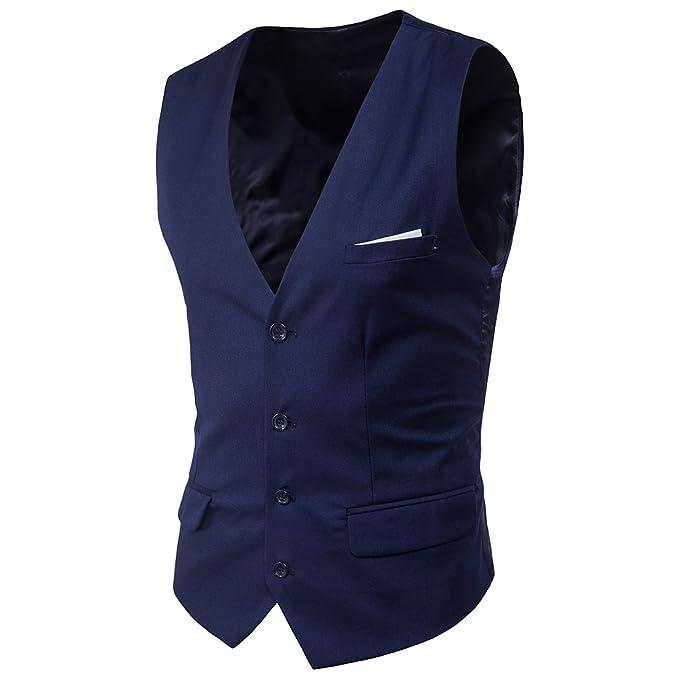 UNINUKOO Mens Four Botton Slim Fit Casual Suit Wedding Party Vest