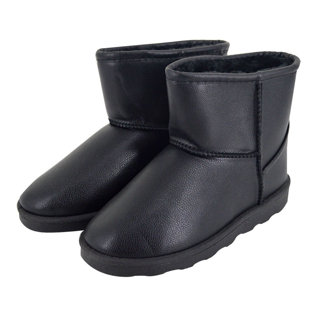 Monique Children Girls PU Leather Faux Fur Lined Snow Boot Winter Waterproof Warm Boot Footwear 26