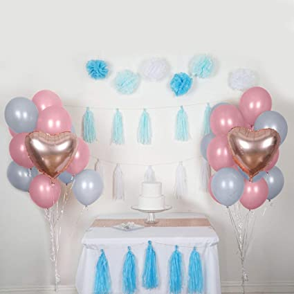 Amazon BalsaCircle 47 Pcs Blue Pink Foil Latex Balloons Tassels