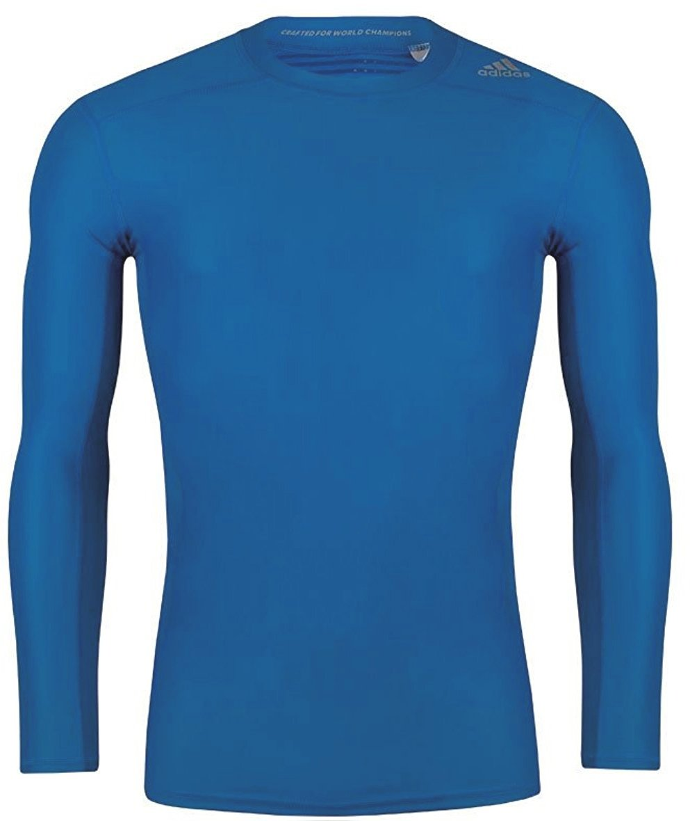 Blue adidas TechFit Chill Mens Long Sleeve Training Top