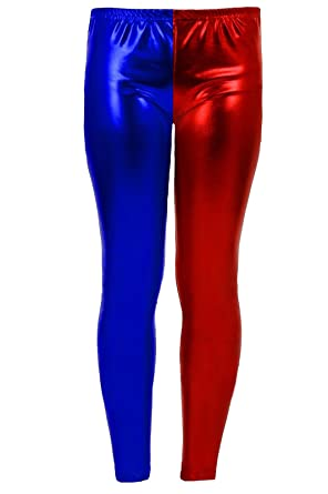 F&F Womens Ladies Harley Quinn Costume Suicide Squad Metallic Shiny Look Leggings  Pants (Small/