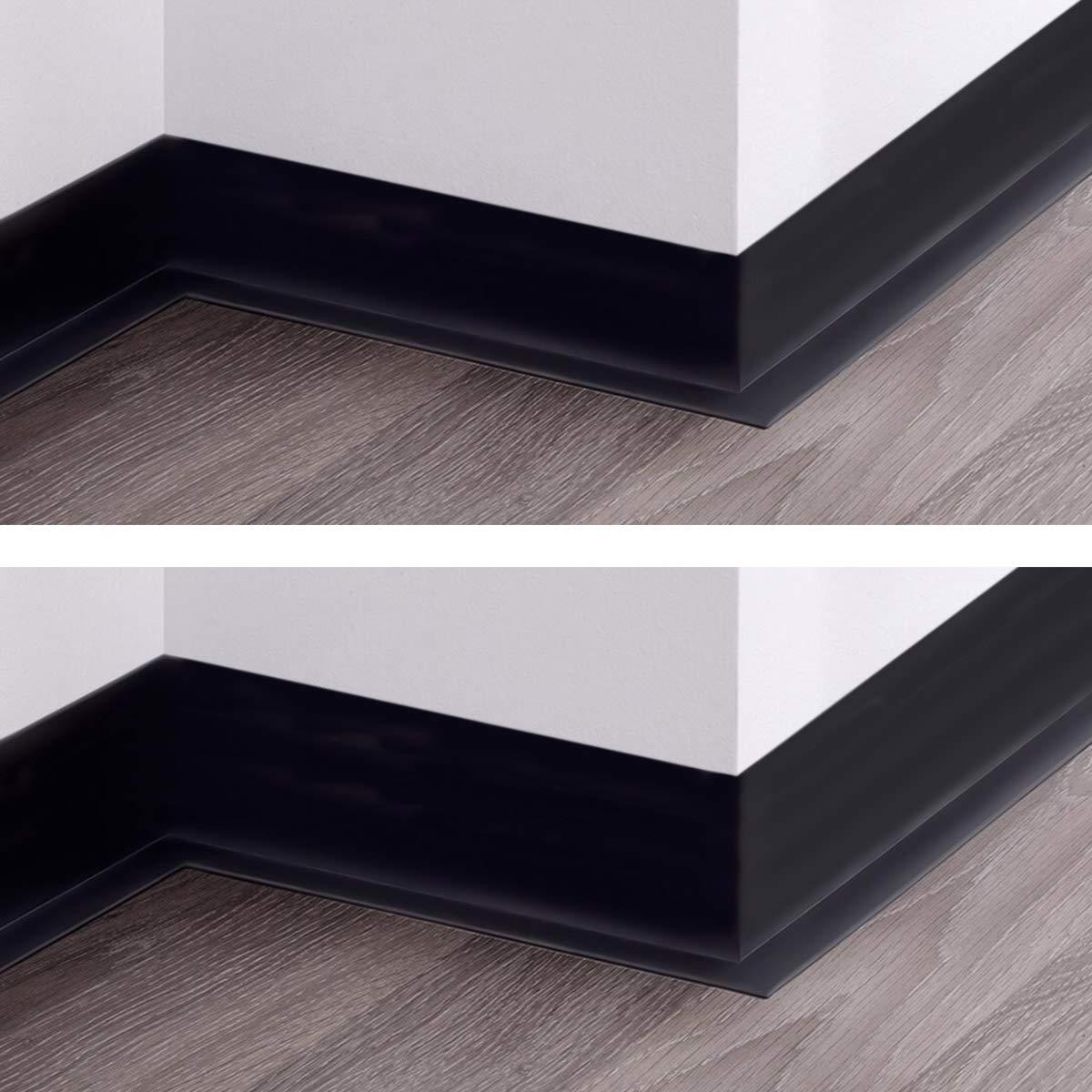 HOLZBRINK Plinthe Souple Auto-Adh/ésive Noire Plinthe Cass/ée PVC 5 m 70x20 mm