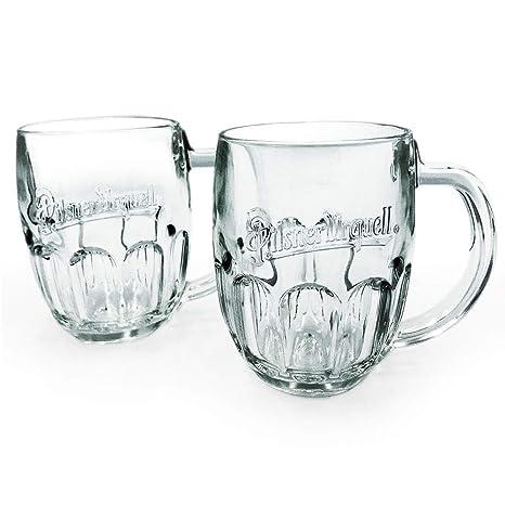 Pilsner Urquell Beer Mugs Set Of 2 Pieces Pint, 0 5 Litre Lined