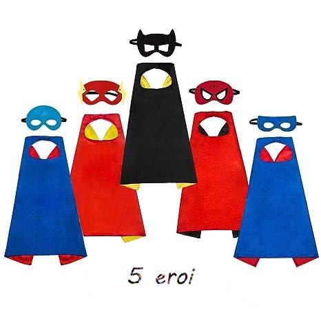 7ac5e5627e009c SAYOMOK Costumi da Supereroi per Bambini-Regali di compleanno - Costumi  Carnevale Mantelli e Maschere