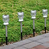 GIGALUMI Solar Lights Outdoor Dual Led Garden Light Landscape/Pathway Lights Stainless Steel Color Changing and White-4Pack