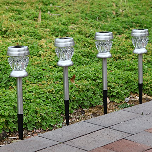 Gigalumi Solar Lights Outdoor Dual Led Garden Light Landscape Pathway Lights Stainless Steel
