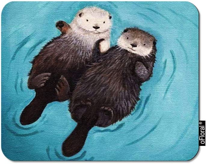 oFloral Otter Gaming Mouse Pad Swimming Brown Couple Otters Romantic Love Decorative Mousepad Rubber Base Home Decor for Computers Laptop Office Home 7.9X9.5 Inch