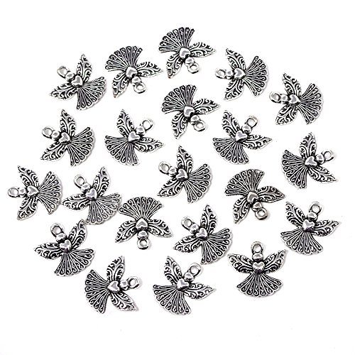 Homeford Small Angel Metal Charms, 3/4-Inch, 20-Count (Silver) ()