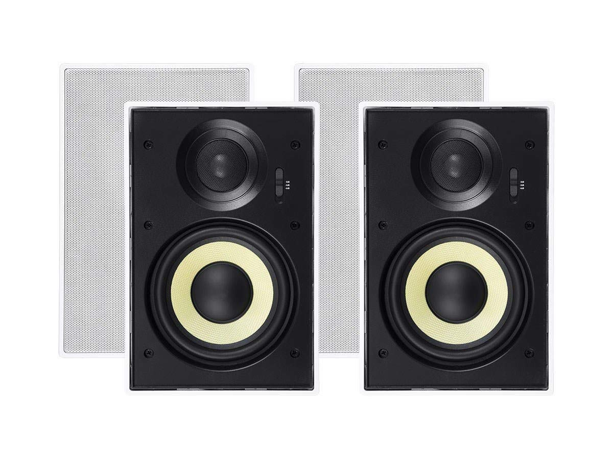 Pair 8 Inch With Removable And Paintable Grille Monoprice 3-Way Fiber In-Wall Speakers Caliber Series