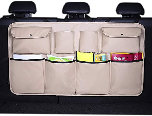 QUEES Car Boot Organiser Back Seat with 4 Mesh Pockets for Vehicle SUV Storage