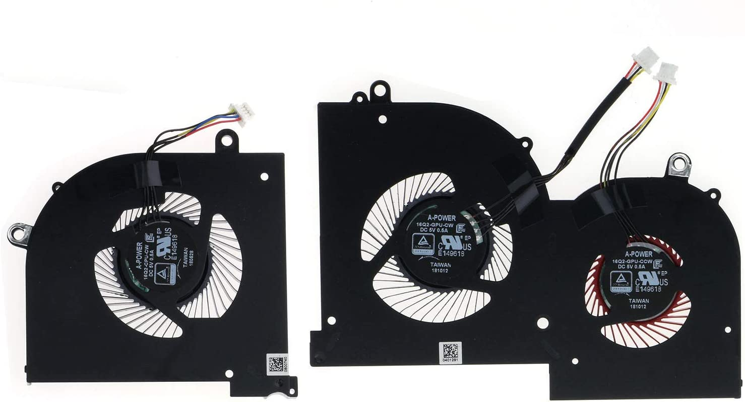 Z-one Fan Replacement for MSI GS65 GS65VR MS-16Q2 Series CPU and Gpu Cooling Fan 16Q2-CPU-CW 16Q2-GPU-CW 4-Wire