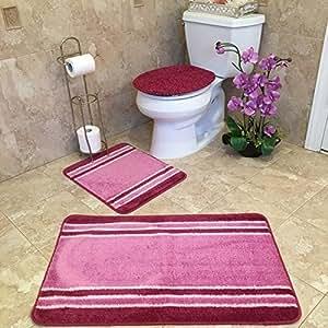 3 Piece Bathroom Rug Sets Anti Bacterial Rubber Back Non Skid Slip Multi Color