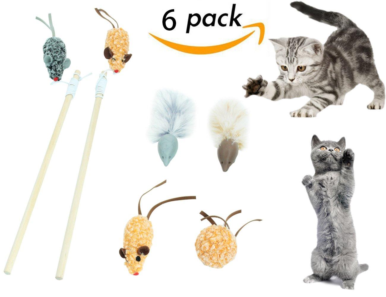 Juguetes interactivos para gatos, juego de 6 piezas de ratones de varita de leva para Boredom: Amazon.es: Productos para mascotas