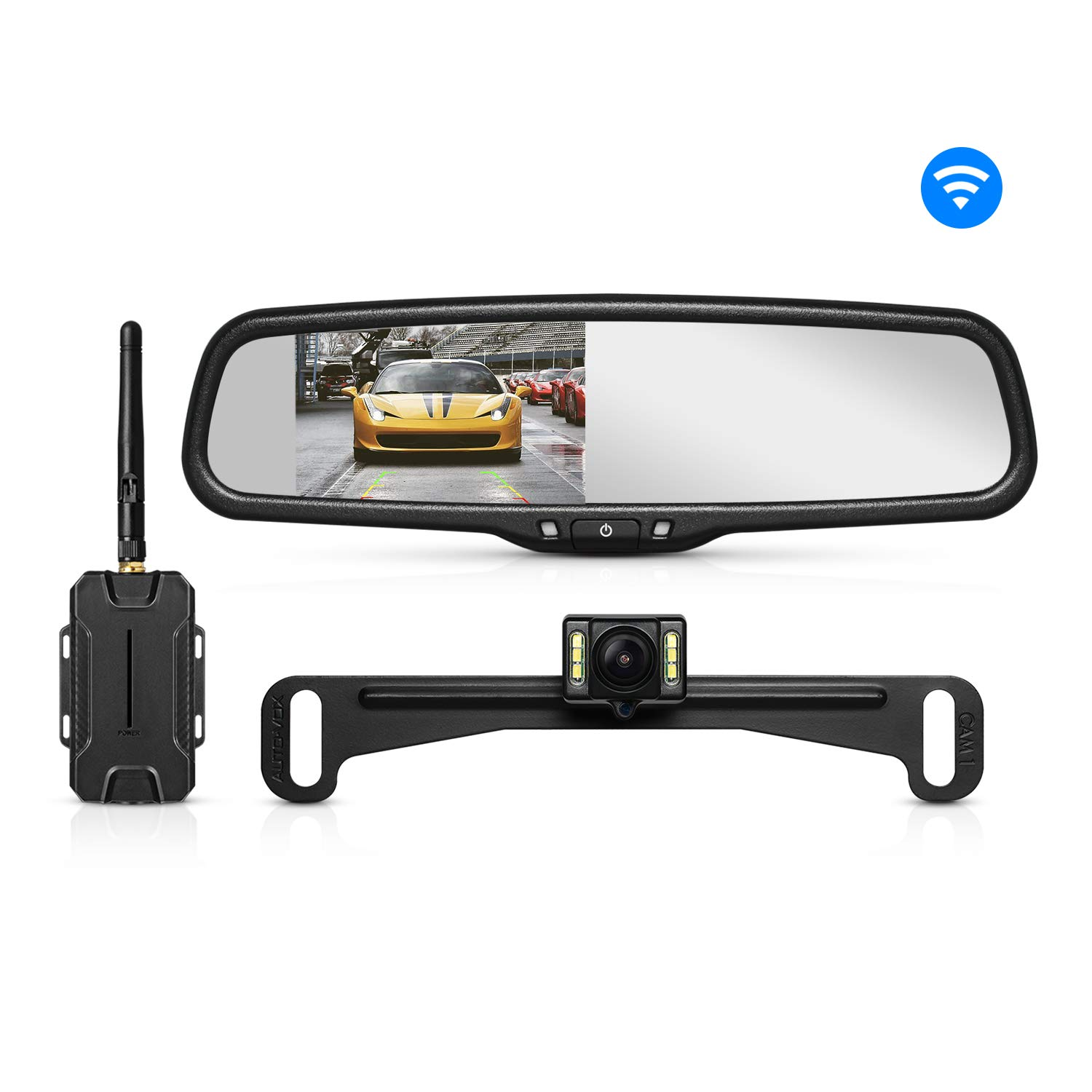 AUTO-VOX Dual Video Inputs 4.3' Auto Adjusting Brightness Car Rear View Mirror for Toyota Honda Nissan Mazda Hyundai Kia Ford Pickup and Most Car Model RVS-T1400A-19