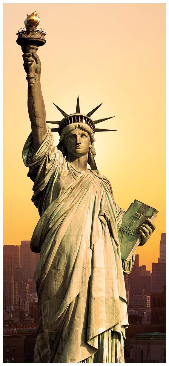 Wallario Selbstklebende Türtapete mit Schutzlaminat, Motiv  Freiheitsstatue New York - Größe  93 x 205 cm in Premium-Qualität  Abwischbar, Brillante Farben, rückstandsfrei zu entfernen