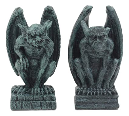 Ebros Notre Dame Guardian Mini Gargoyle Statue Set Of 2 Miniature Fairy Garden  Gargoyle Figurine Pair