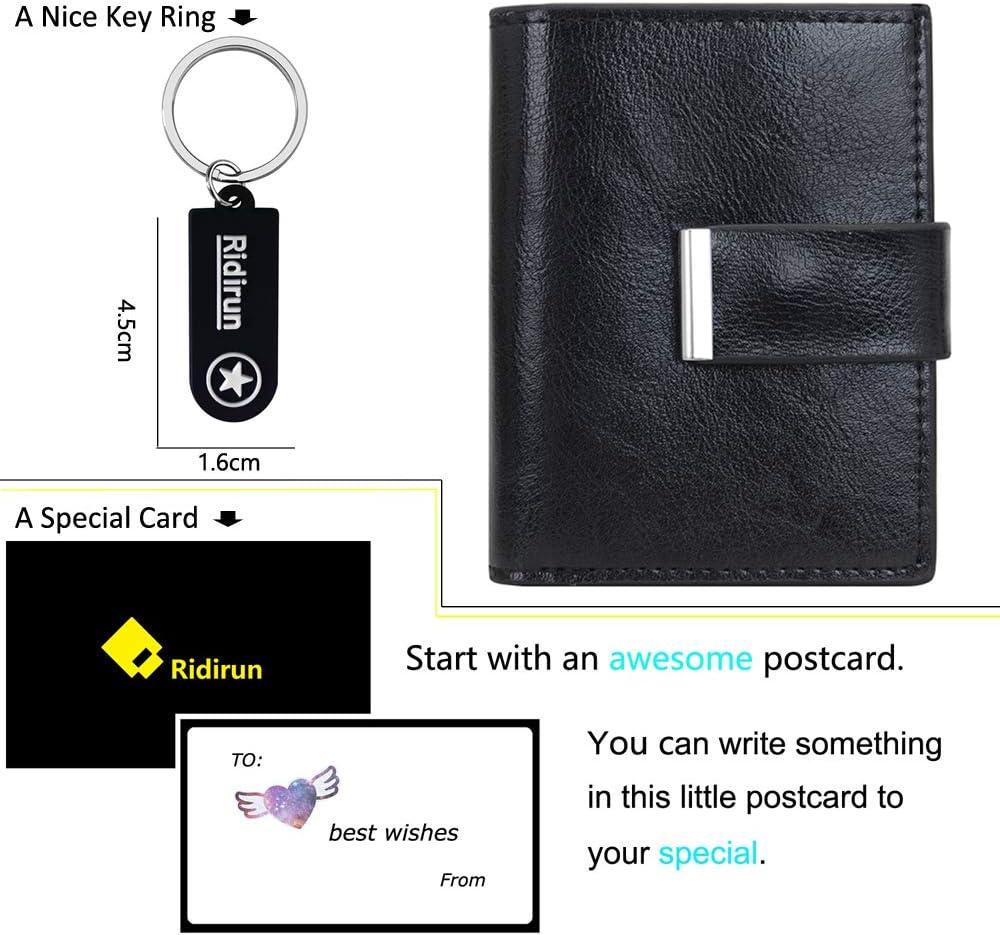 Noir Portefeuille Femmes Hommes Wallet Design El/égant Porte Carte Rangement Carte de Cr/édit et Billets Portefeuille Porte-Cartes RFID Blocage en Cuir