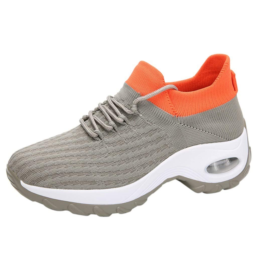 Rmeioel Fashion Women Mesh Casual Breathable Heightening Shoe Thick Bottom Rocking Shoe Student Working Sneaker Gray by Rmeioel