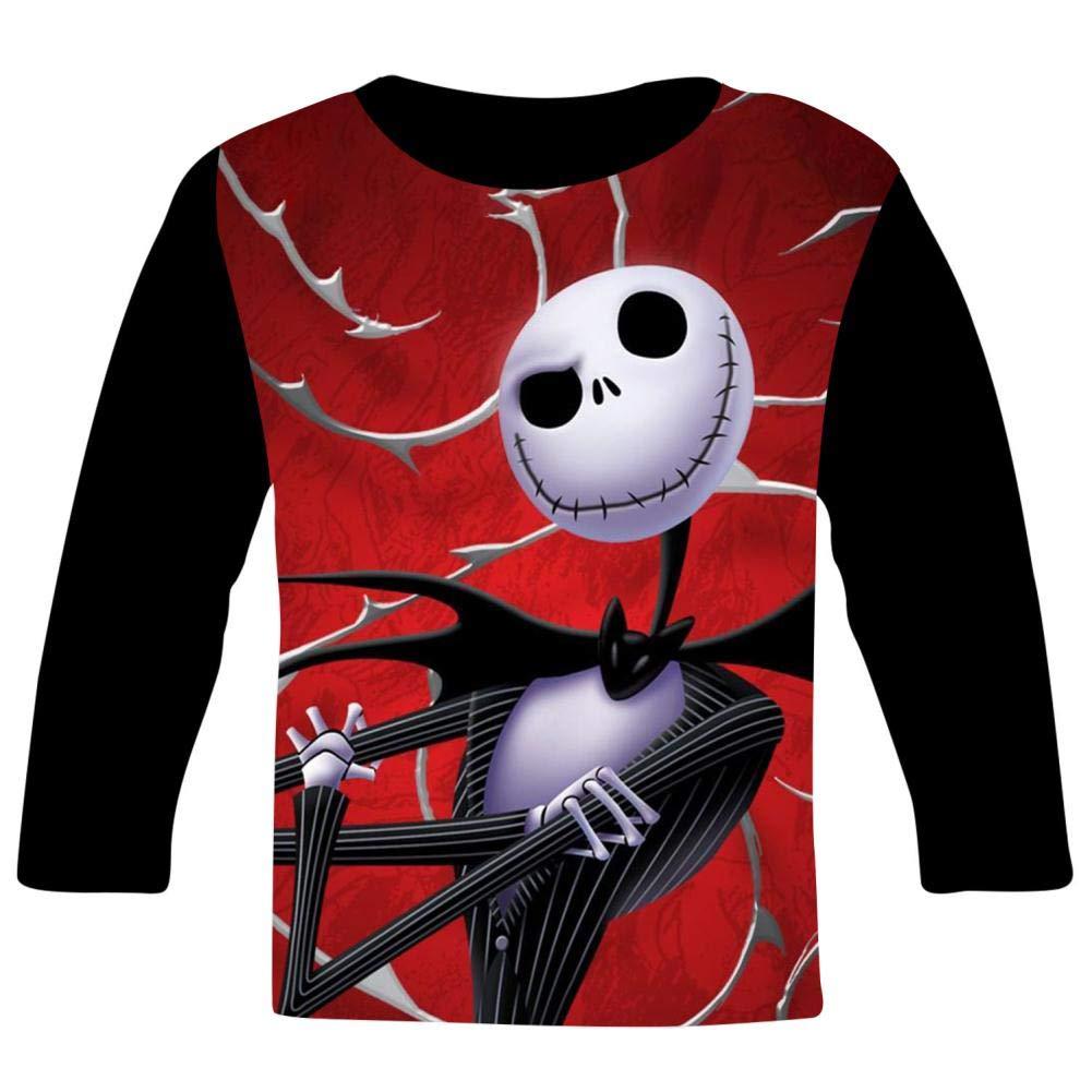 Red Halloween Jac-k Kids T-Shirts Long Sleeve Tees Fashion Tops for Boys//Girls