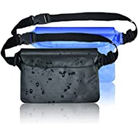 Upgraded Swimming Waterproof Pouches with Adjustable Waist Strap, 2 Pack Dry Pouches Waterproof Phone Wallet for Beach Fishing Water Parks(Black,Blue)