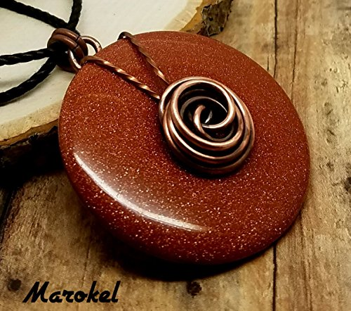 Rose Goldstone Donut Necklace Oxidized Copper Wire Rosette Twisted Wire Burnt Orange