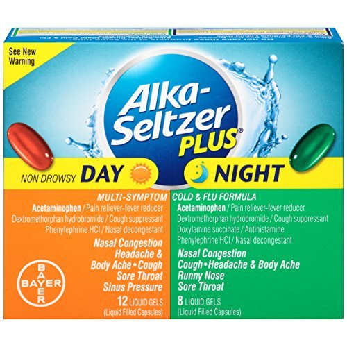Alka-seltzer Plus Day/Night Cold and Flu Combo Pack Liquid Gels, 20 Count (Pack of 2)