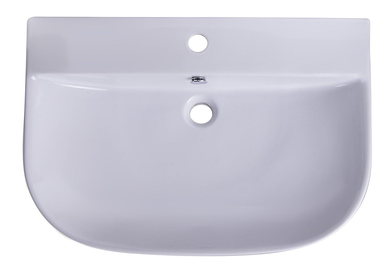 ALFI brand AB112 D-Bowl Porcelain Wall Mounted Bath Sink 28 White 28 Alfi Trade Inc.