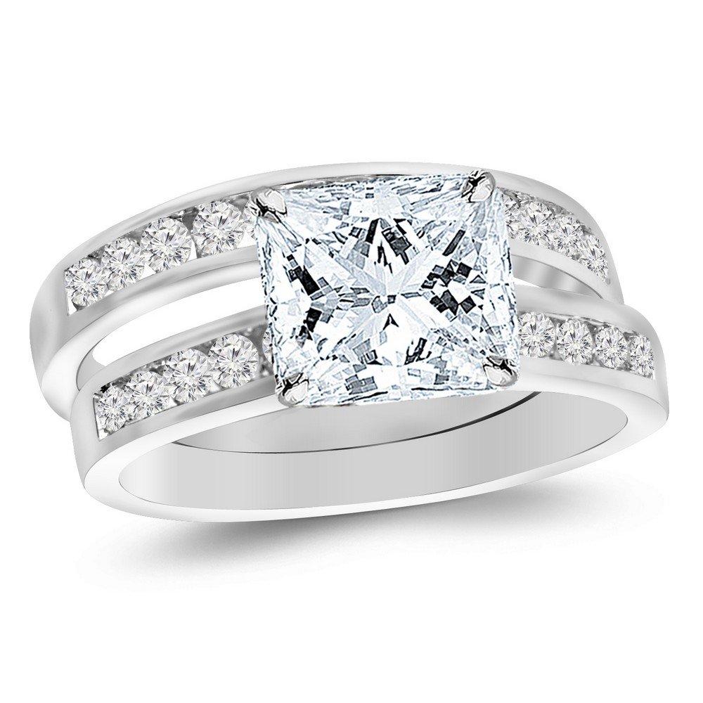 14K White Gold 1.2 CTW Princess Cut Classic Channel Set Wedding Set Bridal Band & Diamond Engagement Ring, D-E Color SI1-SI2 Clarity, 0.5 Ct Center