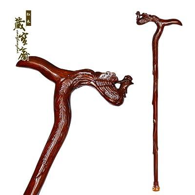 G&M Béquilles en bois massif vieux bâton homme marche walker Dragon Head fournitures âgées Walkers
