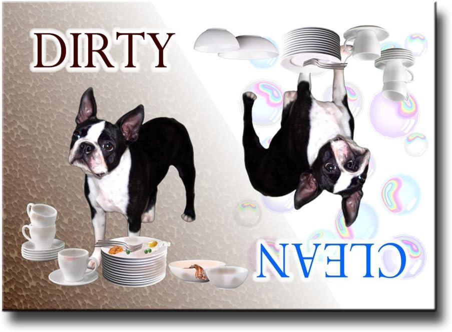 Boston Terrier Clean Dirty Dishwasher Magnet