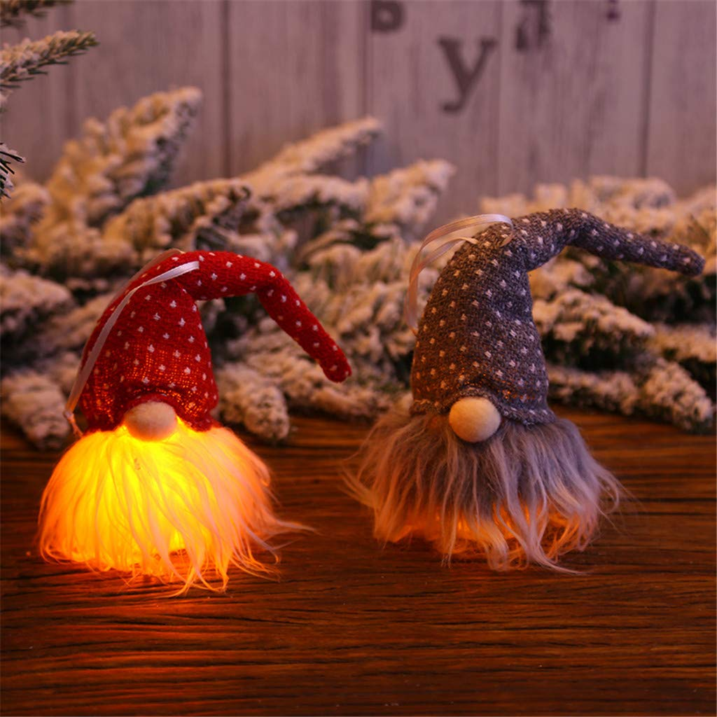 Chezaa Christmas Lighted Ornaments Santa Night Lights Hanging Craft for Xmas Tree Indoor Holiday Home Party New Year Decorations Beige
