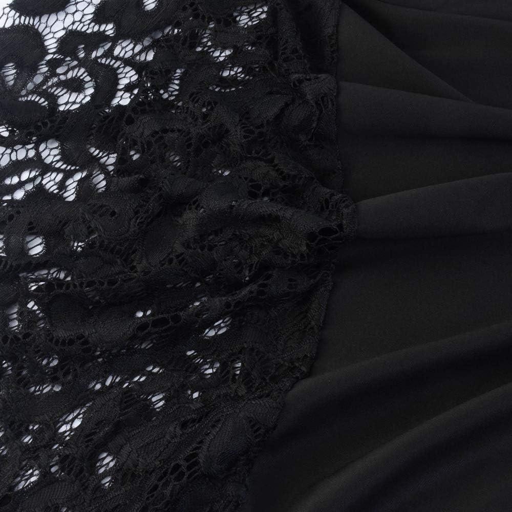 HZD Women Elegant Vintage Dress Lace Patchwork Irregular Hem Dress Robe Female Casual Retro Dresses Black