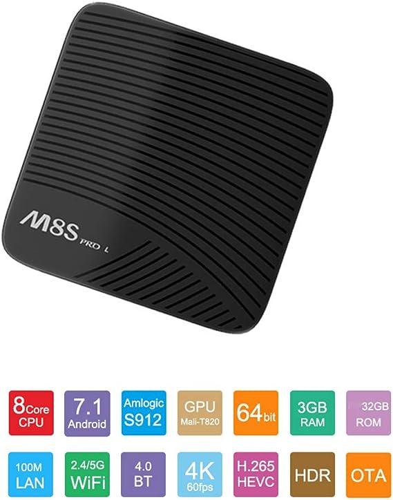 M8S Pro L Android 7.1.2 TV Box con Bluetooth Remoto Ultra 4K HD Smart TV Box 3GB RAM 32GB ROM Bluetooth 4,1 Amlogic S912 Octa Core 64 bits y Soporte de Doble