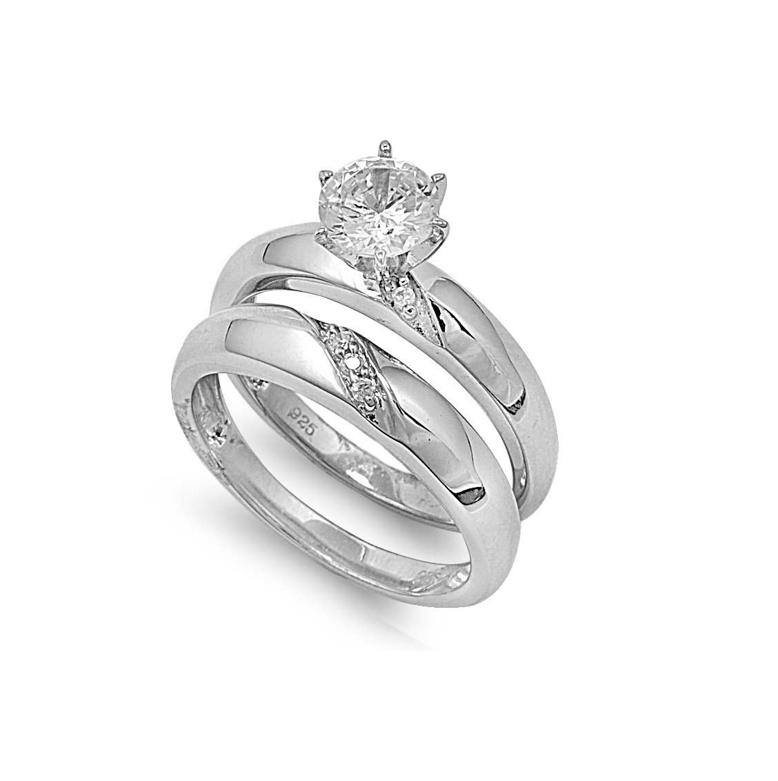 CloseoutWarehouse Round Center with Round And Baguette Stones Cubic Zirconia Wedding Set Ring Sterling Silver Size 7