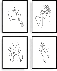 Abstract Women Line Art Painting Canvas Wall Art Drawing Minimalist Line Art Print Posters & Prints Black and White Wall Art Pictures for Office Living Room Bedroom Classroom Decor No Frame Set of 4
