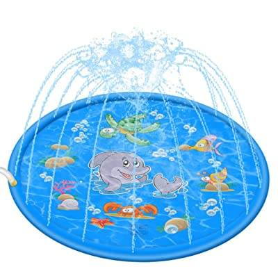 "ZHISHIB Sprinkler for Kids, Splash Pad, 68"" Kiddie Water Play Mat Toys, Outdoor Inflatable Sprinkler Water Toys, Baby Wading Swimming Pool for 2-12 Years Old Boys Girls (Blue): Toys & Games"