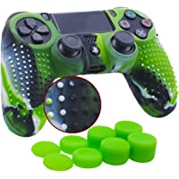 YoRHa Studded Silicone Cover Skin Case for Sony PS4/slim/Pro Dualshock 4 Controller x 1(camouflage green) With Pro thumb grips x 8