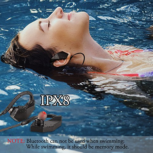 Waterproof Bluetooth Headphones 8 GB IPX8 Qoosea Wireless Sport Earphones Earbuds Sweatproof HiFi Stereo Built-in Mic with Noise Cancelling Tech Running Jogging (Memory Mode While Swimming) (Black)