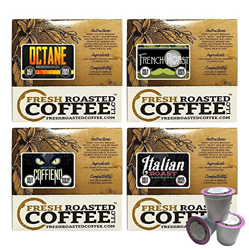 Fresh Roasted Coffee LLC, Bold Artisan Blends Coffee Pod Variety Pack, Medium-Dark & Dark Roast, Capsules Compatible with 1.0 & 2.0 Single-Serve Brewers, 72 Count