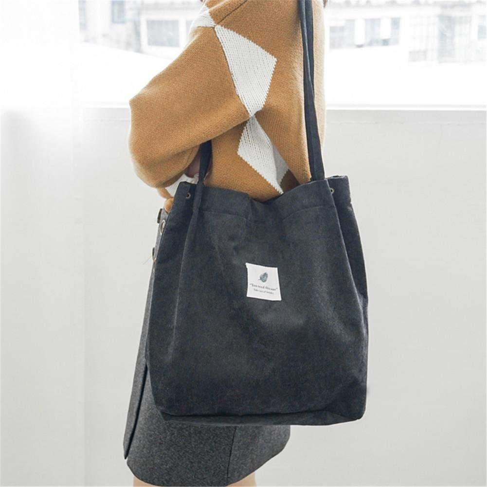 Depruies Corduroy All-Match Crossbody Bags Casual Bolsos de Lona Bolso de Hombro s/ólido Compras Tote para Mujer ni/ña