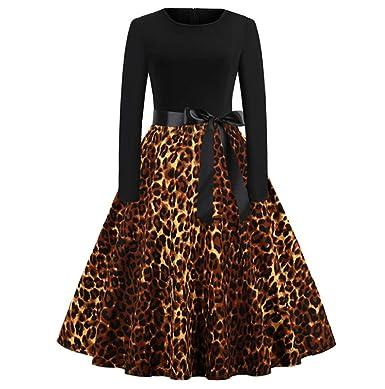 7e593c90729a4 Amazon.com: JHKUNO Women Dresses, Women's Vintage Leopard Print Long ...