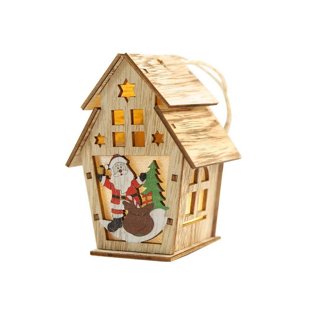 yiyioi Forme Maison en Bois de Bricolage avec d/écorations suspendues /à la Maison de No/ël lumi/ère D/écorations Originales