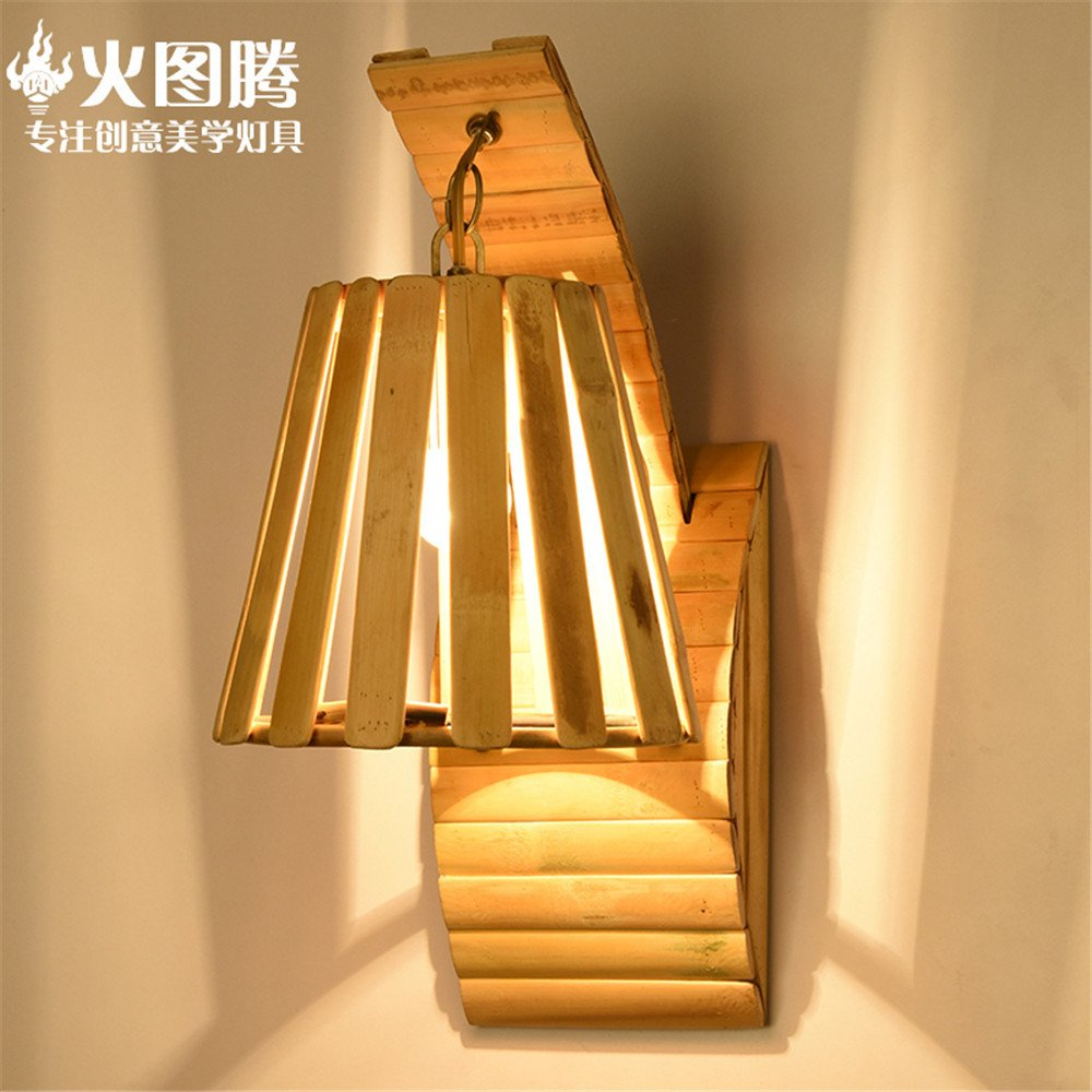 MMYNL Moderne E27 Vintage Wandleuchte für Schlafzimmer Wohnzimmer Bar Bad Küche Massivholz dekorative Lampe Bambus Holz japanischen Stil (20  20 cm)