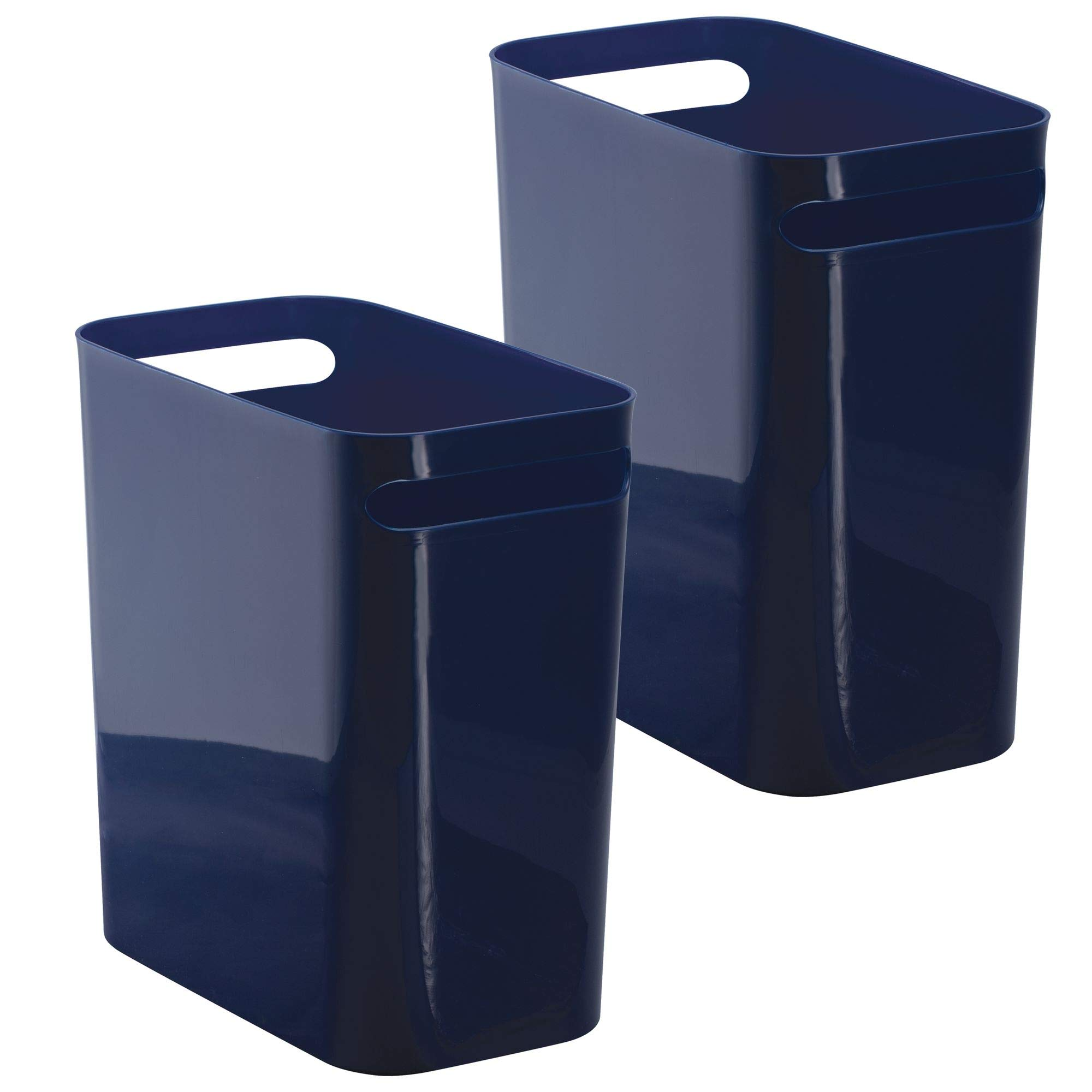 mDesign Slim Rectangular Small Trash Can Wastebasket, Garbage Container Bin with Handles for Bathrooms, Kitchens, Home Offices, Dorms, Kids Rooms � Pack of 2, 12 inch high, Plastic, Navy Blue