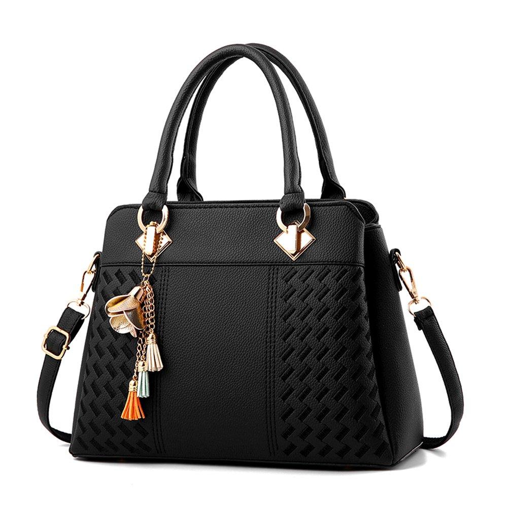 Women's Vintage Leather Bag from Dreubea, Shoulder Purse Tote Satchel Handbag Black
