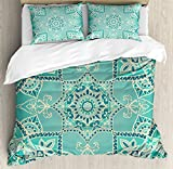 Turquoise Duvet Cover Set by Ambesonne, Arabic Islamic Persian Ottoman Motifs Turkish Iranian Ethnic Artsy Mandala Boho, 3 Piece Bedding Set with Pillow Shams, King Size, Yellow Blue