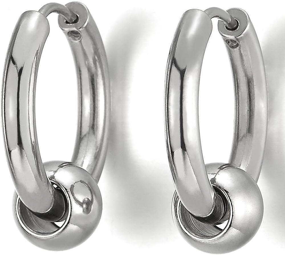 Acier Inoxydable Cercle Perle Anneau Boucle doreille Charni/ère Cr/éoles 1 paire pour Homme Femme