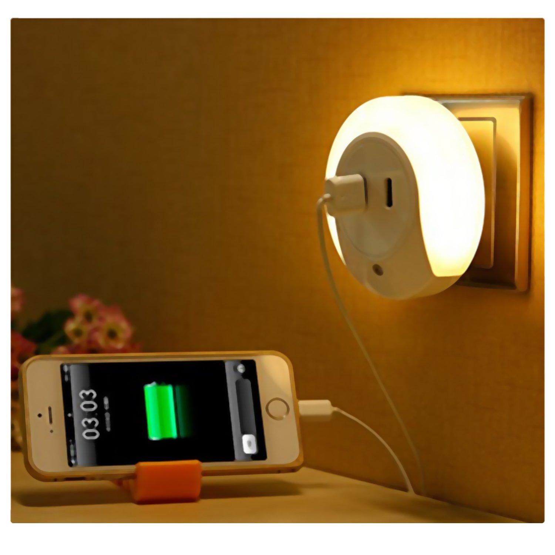AMMBER Inteligente Luz LED de Noche con el Atardecer Hasta el Amanecer Luz-Sensor y USB de Doble Placa de Pared Cargador, 5V 2A de Salida Para la Función de Cargador Rápido de la Lámpara LED del Sensor en la Oscuridad Durante Pasillo, Baño, Dormitorio, Sal