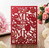 MR and MRS Laser cutting Wedding invitation cards, Wedding Party Favor Personalize & Customize Free, Printable (Red, 100)