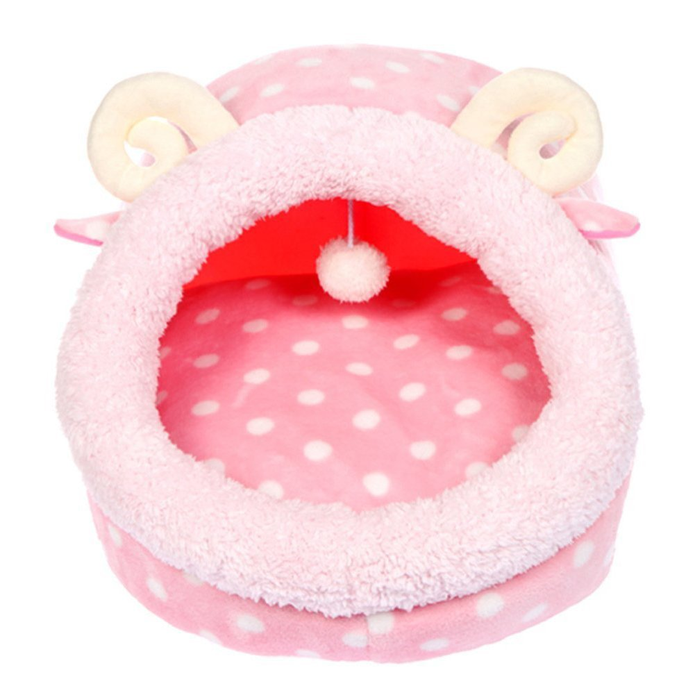 WuKong 13.7''x13.7''x12.5'' Cute Animal Cake Pet Bed Cat Bag Dog Warm Nest House (Pink)